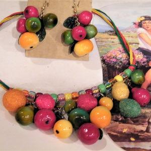 Dangling FRUIT Necklace Earring SET Carmen Miranda